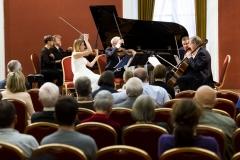 """Koncertas ,,Čiurlionis modernėjančioje Lietuvoje""""  Valstybinis Vilniaus kvartetas ir pianistai Rokas Zubovas ir Sonata  Zubovienė"""